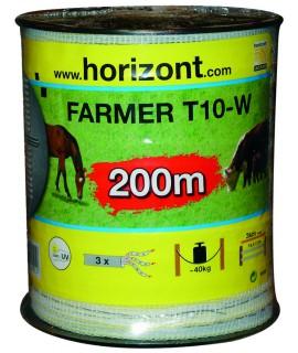 RUBAN FARMER T10-W 10MM BLANC 3 INOX 200M